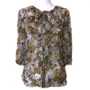 Elle Floral Button-up Blouse in Gray & Yellow